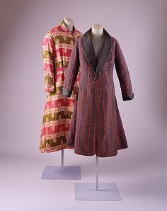Smoking jackets for men became fashionable in the 1860s. Usually worn in a home's smoking den, the garments were intended to absorb the smell of pipe or cigar smoke and to protect clothes from falling ashes. 1860s-1880s smoking jackets from the Metropolitan Museum of Art.