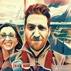 Loving this @prisma app.. Here's me & my sis looking like a couple of space cadets while #upattheo2 !  #London #dayout #selfie #selfieaday #artwork #app  #siblings #theO2 #feellikeiminborderlands