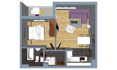 Dvosoban stan 46,05 m2. Banja Luka, preko puta Tropic centra. Banja Luka, Divider, Floor Plans, Tropical, Room, Furniture, Home Decor, Bedroom, Homemade Home Decor