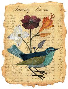 bird flowers paper