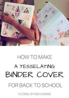 How to make your own Tessellating Triangles Binder Cover!! Perfect for back to school!! For the full tutorial, go to my board '♥︎Tessellating Triangles Binder Cover'.