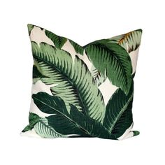 Banana Palm Linen Pillow Cover - Banana leaves decorative pillow cover - Choose Your Size