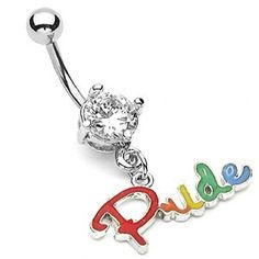 (Rainbow Dangle Pride Script Belly Ring) Gay and Lesbian Pride Body... ($9.99) ❤ liked on Polyvore featuring jewelry, belly rings, dangling jewelry, body jewelry, body jewellery, rainbow jewelry and belly button rings jewelry