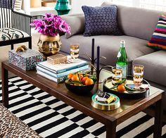 tips on styling your coffee table (tip I liked: store remotes and other unsightly items in a pretty box)