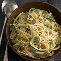 Make it a #pastanight! Get the recipe for Spaghettini w/ Summer Squash and Crispy Speck at williams-sonoma.com #weeknightdinner #inseasonnow #Padgram