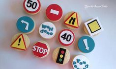 Fondant edible cupcake cookie toppers Driving exam test road Driving street signs school Transportation Birthday party Gumpaste decorations