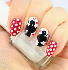 The Mani Cafe Mickey and Minnie mouse nail art design