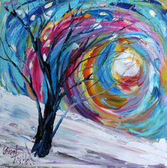 Original oil painting MODERN ABSTRACT Winter by Karensfineart