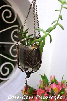 Design e Decoração- Blog de Decoração: Decorando sem gastar nada- Vaso de plantas suspenso