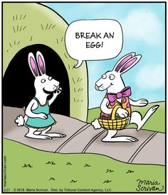 Break an egg! ~ Easter bunny leaving for work Easter Cartoons, Non Sequitur, Funny Bunnies, Calvin And Hobbes, Comic Strips, Easter Bunny, Comics, Simple Pleasures, Egg