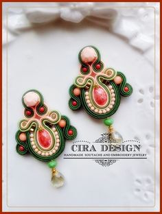 Soutache earrings olive and peach di Cira Design Soutache su DaWanda.com