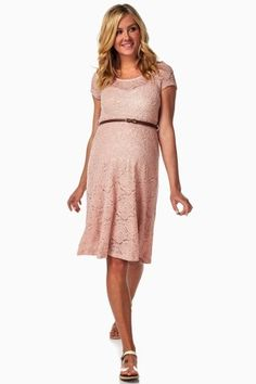 Grab the perfect spring dress for the warm weather coming up. A gorgeous silhouette with feminine lace detailing and flattering belted accent will give you the most amazing look day to night. We're in love with this piece as a wedding guest look to a Sunday brunch best.50% Cotton 48% Nylon 2% SpandexA lace maternity dress. Rounded neckline. Double lined to prevent sheerness. Belt sits above belly.40 inches from high point of shoulder to hem. Measured from Small.Hand Wash Cold, Hang…