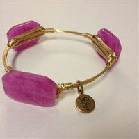 $22.99 Small violet stones on a gold wired bracelet http://piperlillies.com