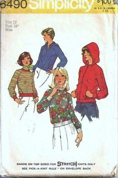 Simplicity 6490 Misses Hoodie Jacket Top Vtg Sewing Pattern Size 12