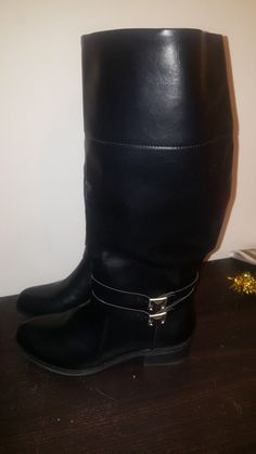Women s~Perfect~ Black Leather Knee High Riding Wide Calf Boot sz. 11 M 27111f352cf3a