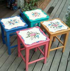 Bancos pintados a bauer One Stroke Painting, Tole Painting, Painting On Wood, Hand Painted Furniture, Funky Furniture, Crafts To Do, Arts And Crafts, Diy Crafts, Mosaic Birdbath