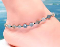 Aquamarine anklet, ankle bracelet, gift under gemstone anklet by CustomAnkletsByLori on Etsy Boot Jewelry, Ankle Jewelry, Boot Bracelet, Ankle Bracelets, Diy Necklace, Stone Necklace, Boot Bling, Beaded Anklets, Handmade Jewelry