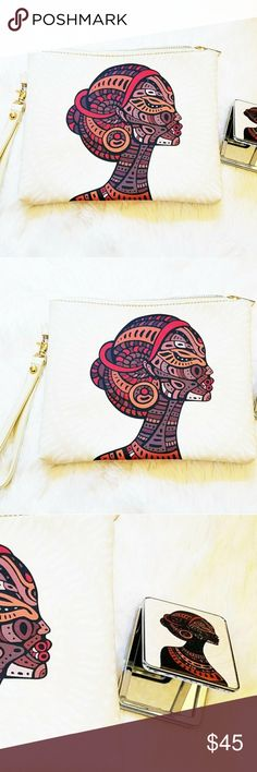 Mother Earth clutch & mirror - off white BNWT | excellent condition | leatherette Bags Clutches & Wristlets