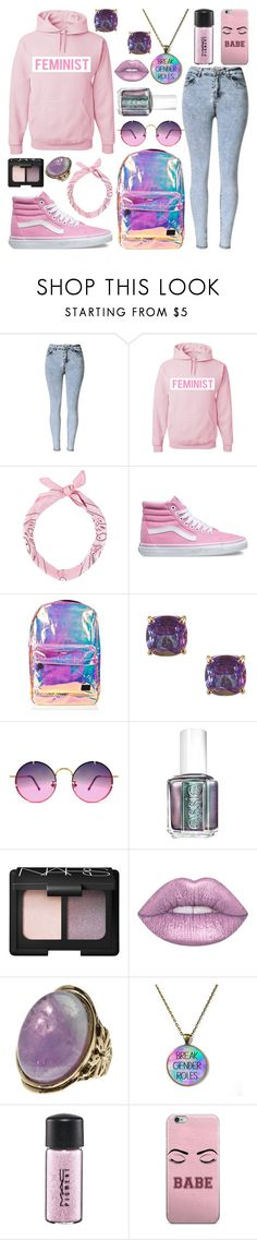 """""""Feminist Babe"""" by meaganmuffins ❤ liked on Polyvore featuring Vans, Spiral, Kate Spade, Spitfire, Essie, NARS Cosmetics, Lime Crime, Free Press, MAC Cosmetics and statementtshirt"""
