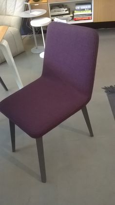 Single Vik dining or desk chair in Purple fabric ('joy') with grey stain legs…