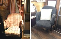 1987 Toyota Dolphin RV Remodel, 1: Before + After Chair with fabric paint.  #motorhome #camper #remodel #decor #fabric #upholstery