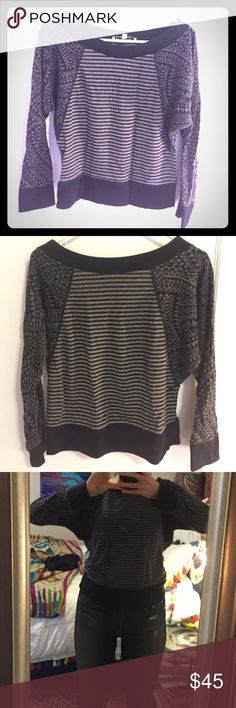 Unique, geo sweatshirt This very comfortable and trendy bay area artist made such are combined stripes and very cool geometric shapes on the sleeves. The sleeves come in at a diagonal to the torso creating a fun wing look. Totally awesome layer add on any casual day or on the way to and from yoga or working out. kathleen Van der Speck Sweaters Crew & Scoop Necks