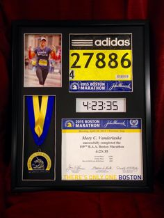 """Marathon Racebox - Boston Marathon - 16x20 Shadowbox Frame. Custom made 16x20 shadowbox picture frame to proudly display all your race bling! Frame is 1.5"""" deep and holds your finisher medal, race bib, finishing time, finishers certificate, and a vertical 5x7 photo. Great gift for yourself or friends or family members who have completed a marathon. https://www.etsy.com/listing/256468012/marathon-racebox-16x20-shadowbox-picture"""
