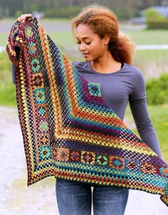 Crochet Woodland Triangle Shawl Scarf Multi Color by StoneThicket