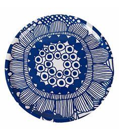 "Idea for Marlot World, or funky, repurposed jewelry. Punchy pattern  Marimekko ""Siirto"" large round tray in Blue/White, $119, Marimekko."