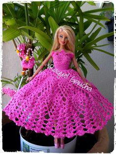 #Dress #Vestido #Crochet #Barbie #Doll #Bolsa #Purse #Umbrella #Sombrinha #Cléa5 #RaquelGaucha