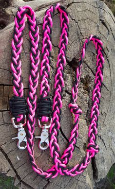 Braided Reins Custom Colors Paracord Horse Tack Barrel Reins Black & Pink by BrodsParacord on Etsy