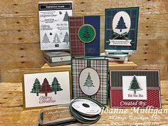 Perfectly Plaid stamp set and Pine Tree punch from Stampin' Up! Featuring the Wrapped in Plaid Suite. Created by Joanne Mulligan, Independent Stampin' Up! Plaid Christmas, Christmas 2019, Christmas Tree, Holiday Cards, Christmas Cards, Stampin Up Christmas, Cards For Friends, Winter Cards, Cool Cards