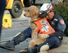 Rescue Dog with Hero Fireman