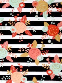 Black and white stripes fabric, mint, coral and gold Flowers fabric, 100% cotton Premium Quality designer Fabric for quilting projects, apparel, sewing general arts and crafts, clothing and home decor.  Fabric material is 100% cotton 44 inches wide. In the second picture the ruler runs along the selvage.  Please select your size preference from the drop-down menu. Available by fat quarter, half yard, yard, yard and a half and so on.  You may purchase more than one yard by adjusting the…
