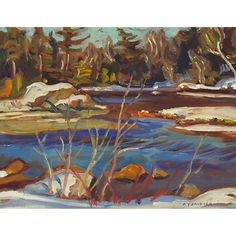 A.Y. Jackson - Madawaska River 10.5 x 13.5 Oil on panel (1961) Tom Thomson, Group Of Seven, Canadian Art, Jackson, Auction, Oil, River, Artist, Painting