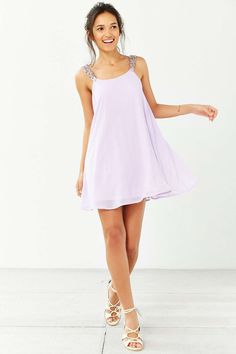 Oh My Love Beaded Strap Trapeze Dress