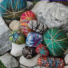 Yarn wrapped pebbles