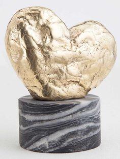 KELLY WEARSTLER | AMORATA SCULPTURE. Hand-sculpted bronze heart atop a marble base