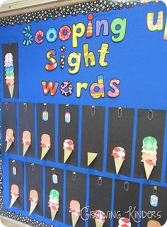 Scooping up Sight Words: sight words are divided into color-coded lists. When a student learns a list, they add that color scoop to their ice cream cone!