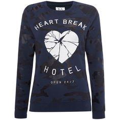 Zoe Karssen Raglan sleeve heartbreak hotel sweat ($155) ❤ liked on Polyvore featuring tops, hoodies, sweatshirts, navy, women, raglan crewneck sweatshirt, raglan sleeve sweatshirt, navy blue sweatshirt, navy blue crewneck sweatshirt and navy top
