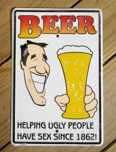 8x12 Beer Helping Ugly People METAL SIGN funny retro keg party bar mancave decor