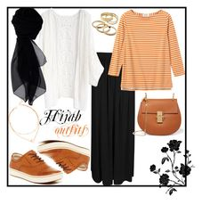 """""""#Hijab_outfits #Orange"""" by mennah-ibrahim on Polyvore featuring Boohoo, Chicwish, Børn, Chloé, KOCCA and Kendra Scott"""