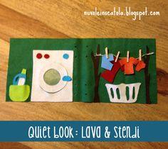 No sew laundry page. La lavanderia formato quiet book (non serve cucire! Birthday Activities, Infant Activities, Book Activities, Diy Quiet Books, Felt Quiet Books, Baby Crafts, Felt Crafts, Projects For Kids, Sewing Projects