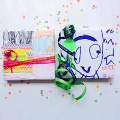 Cadeaupapier gemaakt door kids