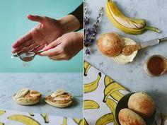 Lunchbol met pindakaas en banaan. Bonus; een snufje kaneel....recept via de bron