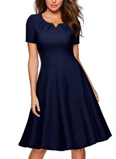 688ed21607be MIUSOL Women's Retro 1950s Short Sleeve A-Line Cocktail Party Swing Dresses  for Women (Navy Blue L) - Walmart.com