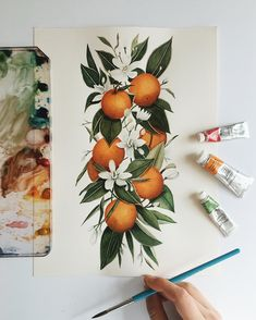 Finished version of my orange blossom design for ♥️while I was working on this I got quite a few DM's with questions about… Painting & Drawing, Watercolor Paintings, Watercolor Fruit, Guache, Orange Blossom, Botanical Art, Watercolor Illustration, Flower Art, Canvas Art