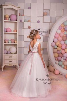 Tulle Flower Girl, Ivory Flower Girl Dresses, Tulle Flowers, Wedding Dresses For Girls, Little Girl Dresses, Wedding Party Dresses, 15 Dresses, Girls Dresses, Rhinestone Dress
