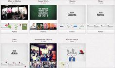 【SNS - Pinterest】 2012/04/25 08:00 Pinterestで「コーポレートサイト」を制作した世界初の広告代理店 / ご覧のとおり、広告代理店のコーポレートサイトに必要な要素がボードごとに整理されています。「Some Work」(実績)や「Clients」(顧客)といった各カテゴリ(ボード)をクリックしなくても、このトップページで大枠の内容(中身)が直観的に把握できるようになっています。