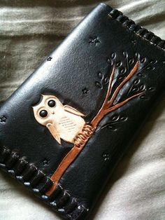 Leather Owl Card Case - ID Case - Hand Carved and Tooled Leather - Original Starry Night Owl Design by CoastalMaineCreation